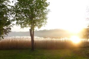 Abendstimmung beim Angelurlaub direkt am Bauernsee. Steg unmittelbar vor dem Haus. Nahe Berlin in Dobbrikow