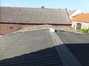Die Hälfte der Dachpappe ist schon weg, links vorne kommt das Dachfenster rein.