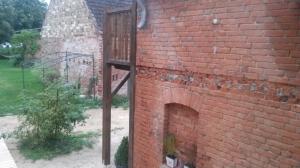 Die abgeschliffene Wand am Ausgang zum Garten hin. Dort wo die Wand gegengekontert ist kommt noh ein Balken rein (die Steine sind zu schlecht)