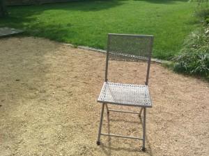 Stuhl Feier im Garten am See